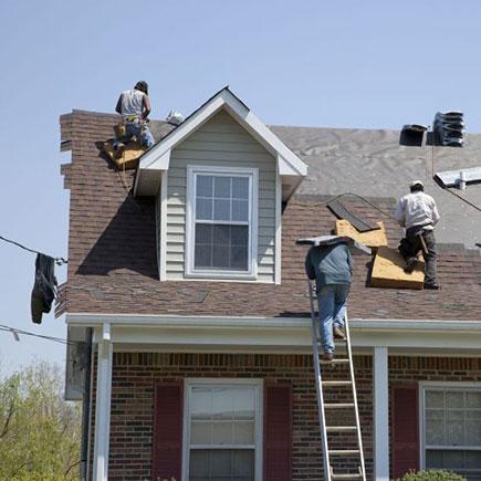 Re-roofing job in progress