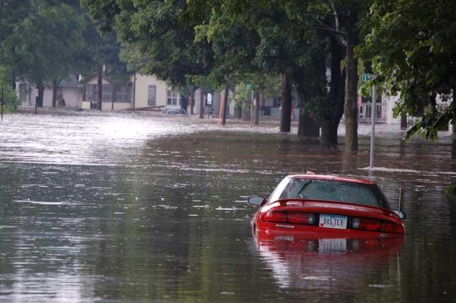 car stuck in a flood