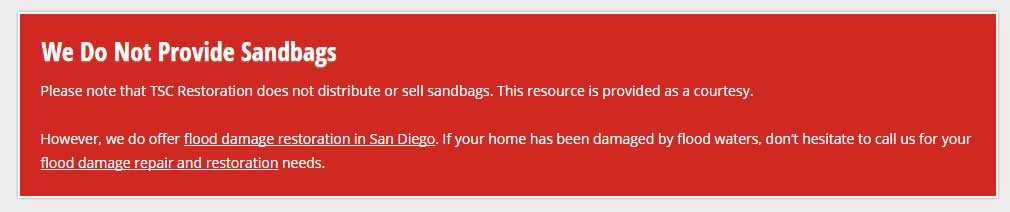 warning on TSC restoration about sandbags