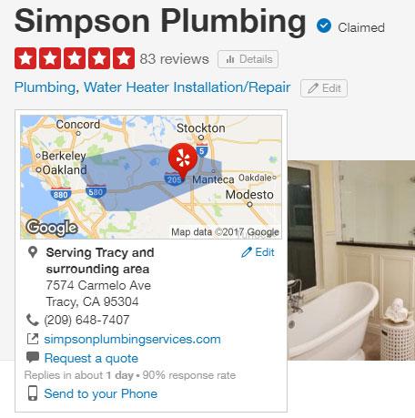 Simpson plumbing's reputation on yelp