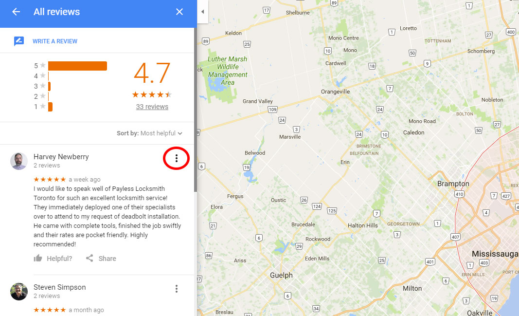 reporting a questionable review on a locksmith's google local listing
