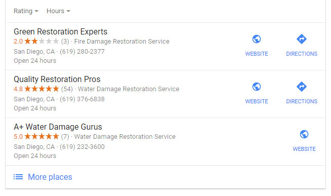water damage companies with interesting star counts on Google local
